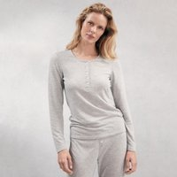 Spot Henley Pyjama Top, Pale Grey Marl, Small