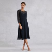 Spot Lace Midi Dress , Navy, 14