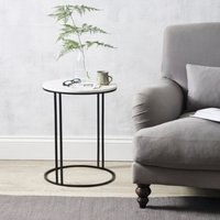 Stanton Marble Side Table, White/Black, One Size