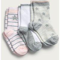 Star & Stripe Baby Socks - Set of 3, Grey, 6-12mths