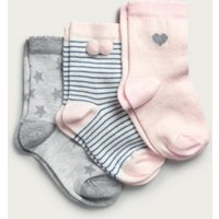 Star & Stripe Socks - Set of 3 (1-6yrs), Multi, 2-3yrs