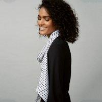 Star Print Skinny Scarf , White/Black, One Size