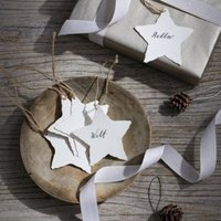 Star Rough Cut Gift Tags - Set of 10, Ivory, One Size