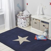 Star Tufted Rug, Navy, One Size