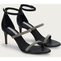 Strap Beaded Heel Sandals, Black, 36