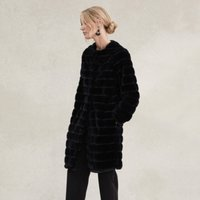 Stripe Faux-Fur Coat , Black, Large