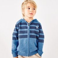 Stripe Giraffe Zip-Up Hoodie (1-6yrs), Denim Blue, 1-1 1/2yrs