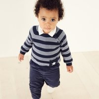 Stripe Jumper with Star Pocket, Navy, 3-6mths