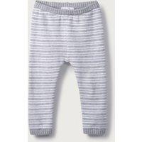 Stripe Knitted Leggings, Grey Marl/White, 18-24mths