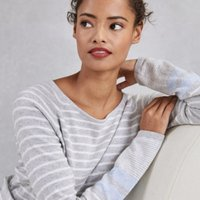 Stripe Raglan Sleeve Jumper, Pale Grey Marl, 4