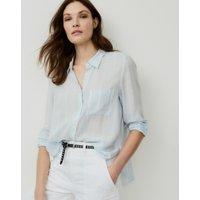 Stripe Side-Vent Shirt , White Blue, 4