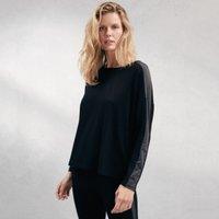 Stripe Sleeve Jersey T-Shirt, Black, Extra Small