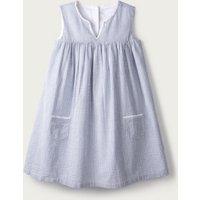 Stripe Sparkle Notch Dress (1-6yrs), White Blue, 4-5yrs
