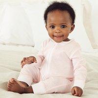 Stripe Zip Sleepsuit , Pink, 6-9mths