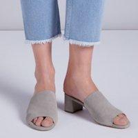 Suede Block Heel Mules   , Mid Grey, 36