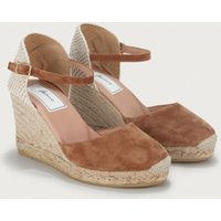 Suede Round Wedge Espadrilles, Tan, 36