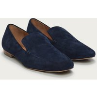Suede Square-Toe Loafers, Navy, 40