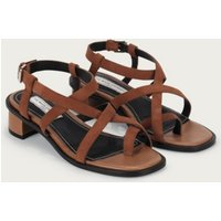 Suede Toe-Post Strap Sandals, Tan, 41