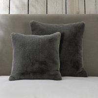Super-Soft Faux Fur Cushion Cover , Charcoal, Large Square