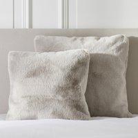 Super-Soft Faux Fur Cushion Cover, Natural, Large Square
