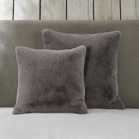 Super-Soft Faux Fur Cushion Cover, Truffle, Large Square