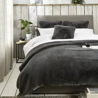 Super-Soft Faux Fur Throw, Charcoal, One Size