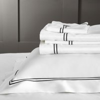 Symons Cord Flat Sheet, White/Black, Super King