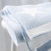 Reversible Star Baby Blanket, Baby Blue, One Size