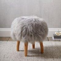 Tibetan Sheepskin Stool , Grey, One Size