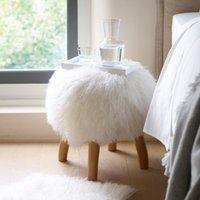 Tibetan Sheepskin Stool, Ivory, One Size