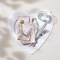 Linen Heart Placemats – Set of 2, White, One Size