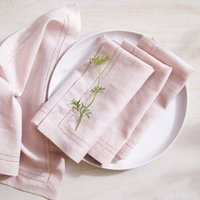 Picot Detail  Napkins – Set of 4, Pink, One Size