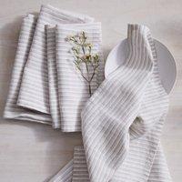 Grey Stripe Napkins - Set of 4