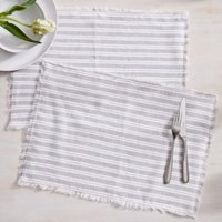 Stripe Placemats – Set of 2 , White Grey, One Size