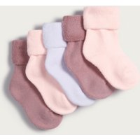 Terry Socks - Set of 5, Pink, 6-12mths