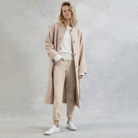 Textured Wool Coat, Pale Pink, Medium