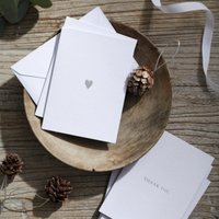 Thank you, With Love Card Duo - Set of 10, White Silver, One Size