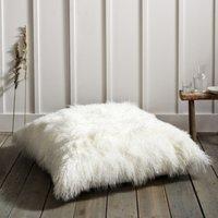 Tibetan Sheepskin Floor Cushion, Pearl, One Size