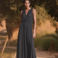 Tie-Front Jersey Maxi Dress, Storm Grey, 14