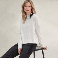 Tie-Neck Detail Jumper with Cashmere , Cloud Marl, 14