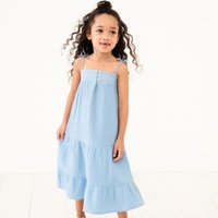 Tiered Crinkle-Cotton Dress (1-6yrs), Blue, 1-1 1/2yrs