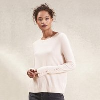 Tiny Button Cuff Jumper with Cashmere , Petal Pink, 18
