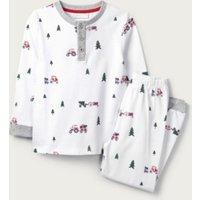 Tractor Print Henley Pyjamas (1-12yrs), White, 3-4yrs