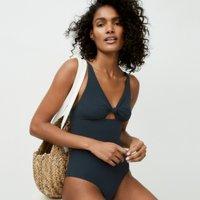 Twist-Front Swimsuit, Grey, 10