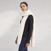 Ultimate Wool Cosy Stitch Scarf , Ivory, One Size