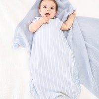Under-The-Sea Seersucker Sleeping Bag 0.5 Tog, White, 6-18mths