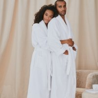 Unisex Cotton Classic Robe, White, Small