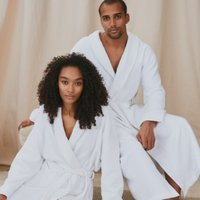 Unisex Cotton Waffle Double Faced Robe, White, Extra Small
