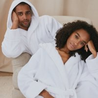 Unisex Hydrocotton Hooded Robe, White, Medium