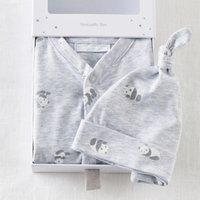 Unisex Panda Boxed Baby Gift Set, Grey, 0-3mths